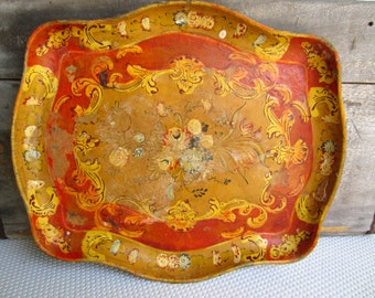 Vintage Shabby Red Florentine Italian Tray with Ornate Scroll Edging