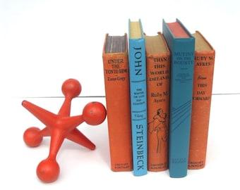 Vintage Orange and Blue Books Home Decor Shabby Chic Mid Century Modern Library Accent John Steinbeck Zane Grey