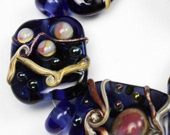 SRA Lampwork Glass Bead Set Organic Iridescent Blue Hot Pink Ivory Goldstone 'Kozmic Blues'