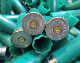 200 Remington 12 GA gauge shotgun shells hulls, bulk lot, all green, silver tone ends, empty shells, empties, fired shot gun bullet casings