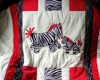 Zebra Mommy and Baby Crib Quilt Red White Black Light Green