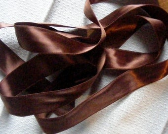 Vintage 1930's-40's French Double Faced Satin Ribbon 7/8 inch Chocolate Caramel