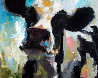 Cow Painting - Daisy - Paper print of an original painting by Cari Humphry