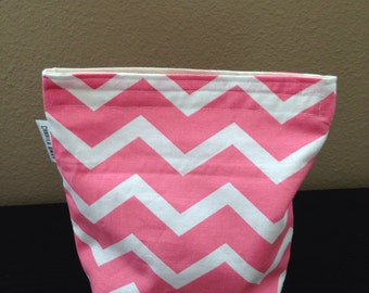Chevron Coral and White Sandwich Bag with Gusset Bottom