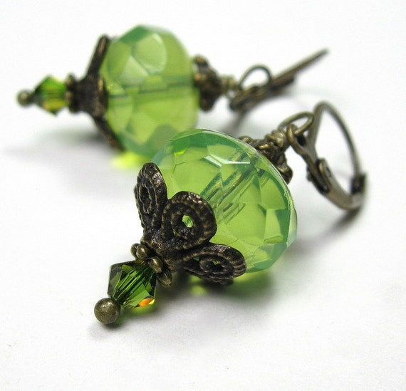 Czech Glass, Vintage Style, Dangle Earrings, Light Green, Victorian Style, Antiqued Brass, Chartreuse, For Her, Womens Accessories, Lime