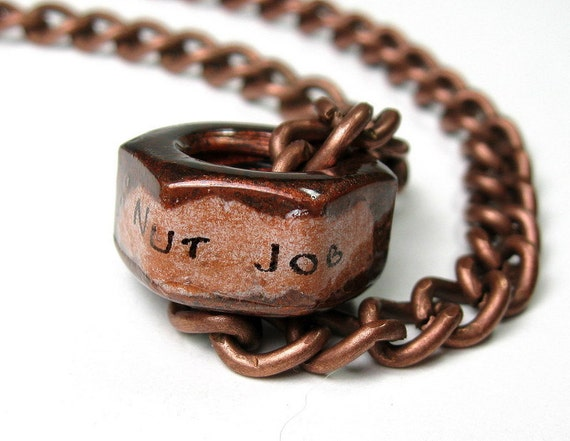 Nut Job, Industrial Chic, Hex Nut Necklace, Metal Jewelry, Antiqued Copper, Funny, Humorous, Gifts For Men, Biker, Steampunk, Gifts for Guys