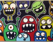 mONSTeRS mONSTeRS EvERYwHERE  - 24x48 original acrylic painting on canvas, monster art, monster wall decor, monster theme