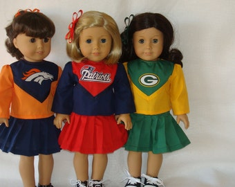 "18"" Doll Clothes/Patriots or Packers or Broncos/Cheerleader outfit fits 18 inch dolls as shown/READY TO SHIP"