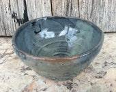Tea Bowl Teacup or Chawan - glazed in black & pistachio shino - one small bowl