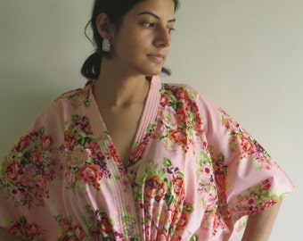 Light Pink Floral Nursing Maternity Hosptial Gown Delivery Kaftan Great as loungewear getting ready, beachwear gift for moms to be moms