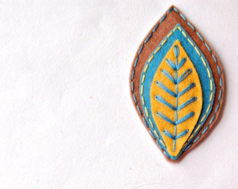 Embroidered Leaf Hair Clip