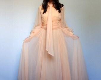 Vintage 70s Maxi Dress Light Orange Creamsicle Sheer Sleeve Floor Length Dress - Large L