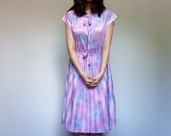 70s Summer Dress Vintage Sundress Pleated Skirt Tie Neck Simple Day Dress Pink Purple Blue - Large L