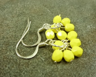 Bright Yellow Cluster Earrings
