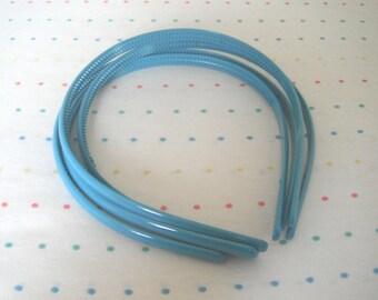 Turquoise Plastic Headbands, 8 mm Wide (4)