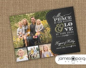 Chalkboard Art - Peace Be Your Blessing Holiday Card Multi Photo Option (5x7) - Digital File