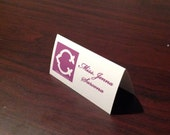Monogram Escort/Place Card with guests names to the side  of the monogram