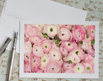 Paris Ranunculus Photo Notecard - Pink and White Ranunculus, Note Card, Floral Travel Photo Notecard, Stationery, Blank Notecard