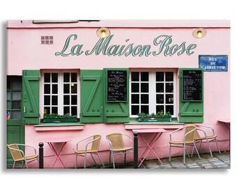 Paris Photo on Canvas, La Maison Rose Cafe, Montmartre, Fine Art Gallery Wrapped Canvas, Large Wall Art, French Home Decor