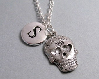 Sugar Skull Necklace, Sugar Skull Charm, Skull Keychain, Silver Plated Charm, Engraved, Personalized, Monogram Charm