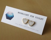 translucent white shimmer brass heart stud earrings - limited quantities