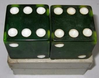 A Pair of Vintage Prystal Gem Bakelite Large Transparent Green  Dice