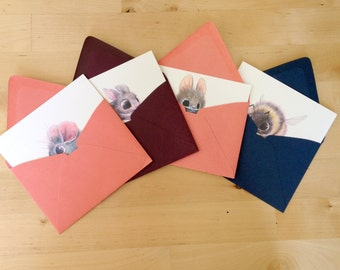 Cute fuzzy animal cards w/envelope - set of 4