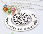 Handstamped charm necklace- Family tree - up to 4 names