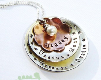 Grandmother personalized necklace - Hand stamped jewelry - Name charm necklace - Kids name charms - 5 names on Large domed discs