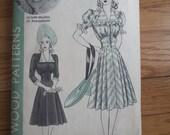 Vintage 1940's Hollywood Patterns One-Piece Dress Pattern - Size 16  Olympe Bradna