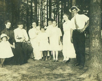 Big Happy Family in the Woods Men Women Kids RPPC Real Photo Postcard Antique Vintage Black White Photo Photograph