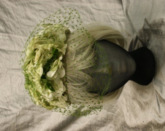 Vintage Green Floral with Net Veil Pill Box Hat