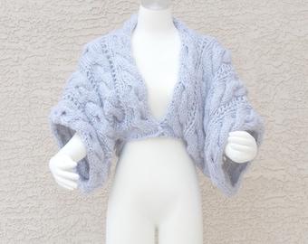 Hand Knit Shrug Bolero Sweater Uber Chunky Cabled Grey
