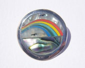 Rainbow Beach Pendant - sterling silver with enamel and mother of pearl inlay - 1970s