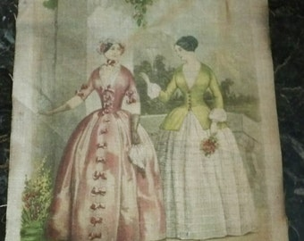 Godey's Lady's Book linen print - vintage