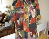 Vintage 80s Italy abstract pattern fine cotton blouse Large