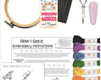 Sublime Stitching La Petite Embroidery Kit-  Hoop Thread Patterns Needles Scissors Beginner Embroidery Stitch Embroidery Floss How To