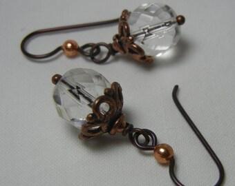 Crystal Drop Copper Earrings Niobium Hypoallergenic Ear Wires Czech Glass Beads