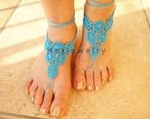 Crochet Beach, Pool Sandals PDF Pattern,   Flower, Motifs, Barefoot Sandals,  Beach Wedding Accessories