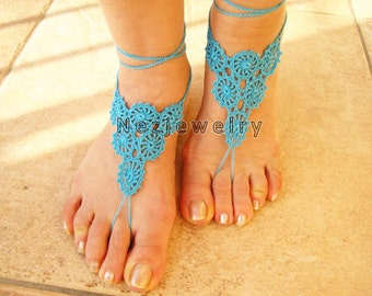 DIY Projects,Crochet Pattern, Beach, Pool Sandals PDF Pattern,   Flower, Motifs, Barefoot Sandals,  Beach Wedding Accessories