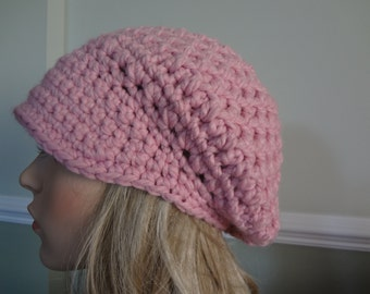 Mauve/Pink Nubby Stitch Newsboy Messenger Hat.  Teens and Adult, Wool Blend, Super Soft and Warm.