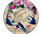 Vintage Birdsong Inspired Pocket Mirror
