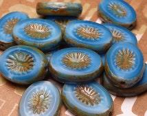 Royal Blue Buffet - Glass Oval Beads 6pc