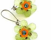 Green, yellow, orange and turquoise lucite Flower dangle earrings