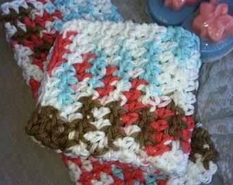 Dish/Facial Cloths.....set of 2 in Lotus Blossom. Bath Cloth, Wash Cloth, Dish Cloth