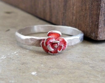 Teeny Tiny Rose Ring, Sterling Silver Ring, Red Rose, Valentines Day Jewelry, Stacking Ring, Flowers