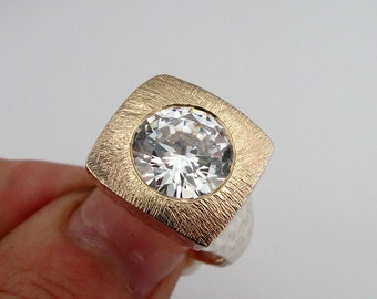 Massive Yellow Gold 925 Sterling Silver CZ Ring size 8. Ready to ship  (sp 113)