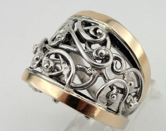 Great 9k Gold and Sterling Silver filigree Band Ring size 8 11301