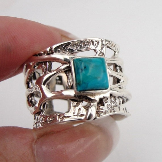 Massive Sterling Silver Turquoise Band / Ring size 7 (s r1728sil)