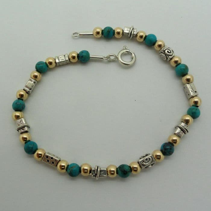 NEW ISRAEL Handcrafted Turquoise Sterling Silver 925 14K Gold Filled Bracelet